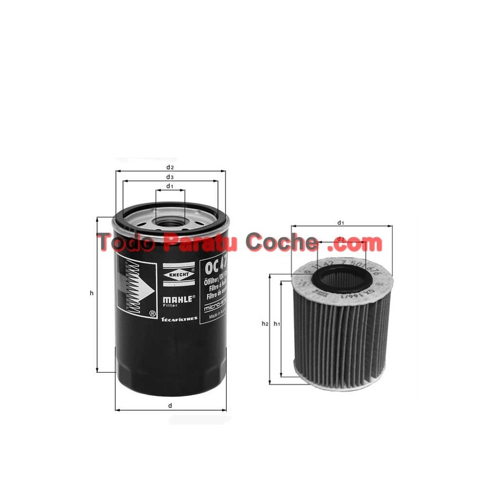 Filtro aceite Mahle OX 196/3D